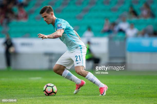 Benjamin Verbic of Slovenia in action during football match between National teams of Slovenia and Malta in Round of FIFA World Cup Russia 2018...