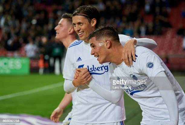 Benjamin Verbic Uros Matic and Pieros Sotiriou of FC Copenhagen celebrate after scoring their fourth goal during the Danish Alka Superliga match...