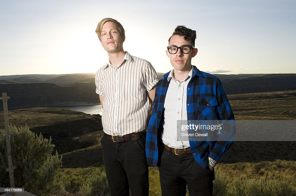 Benjamin Verdoes and Nathan Quiroga of Iska Dhaaf pose for a portrait backstage on day 2 of Sasquatch! Music Festival at the Gorge Amphitheater on May 24, 2014 in George, United States.