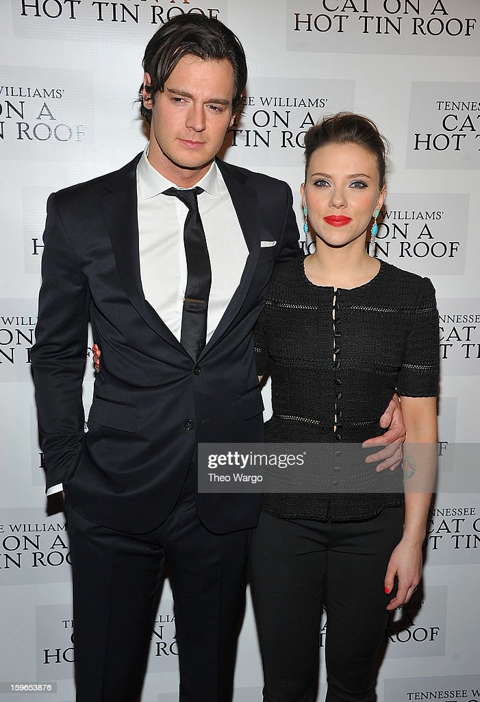 Benjamin Walker and Scarlett Johansson attend the 'Cat On A Hot Tin Roof' Broadway Opening Night after party at The Lighthouse at Chelsea Piers on January 17, 2013 in New York City.