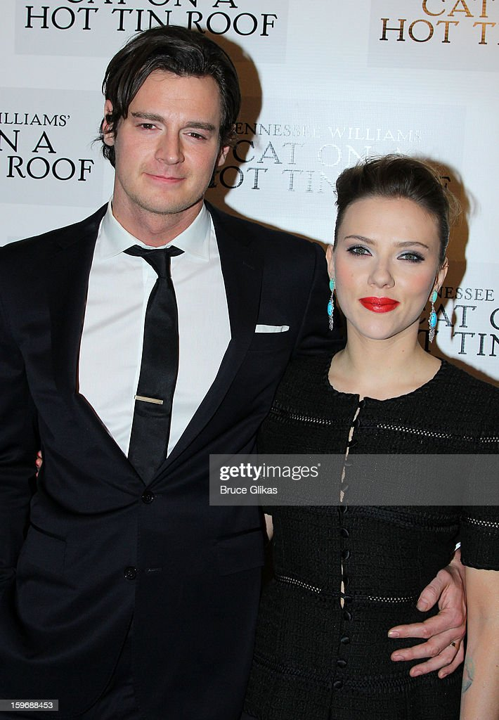 Benjamin Walker and Scarlett Johansson pose at the after party on opening night of 'Cat On A Hot Tin Roof' on Broadway at Chelsea Piers Lighthouse Pier 60 on January 17, 2013 in New York City.