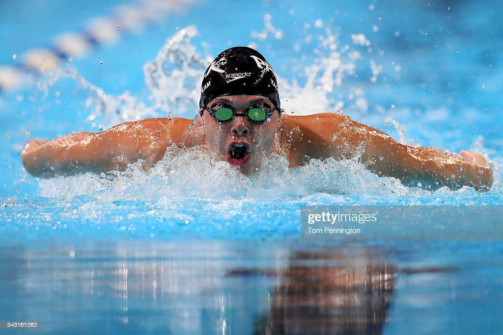 Benjamin Walker of the United States competes in a preliminary heat for the Men's 400 Meter Individual Medley during Day One of the 2016 U.S. Olympic Team Swimming Trials at CenturyLink Center on June 26, 2016 in Omaha, Nebraska.