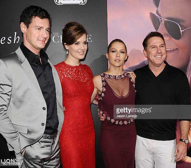 Benjamin Walker Teresa Palmer Maggie Grace and Nicholas Sparks attend the premiere of 'The Choice' at ArcLight Cinemas on February 1 2016 in...
