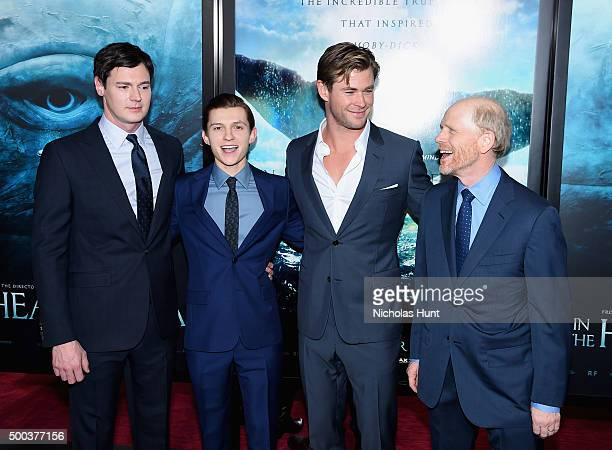 Benjamin Walker Tom Holland Chris Hemsworth and Ron Howard attend 'In The Heart Of The Sea' Premiere at Frederick P Rose Hall Jazz at Lincoln Center...