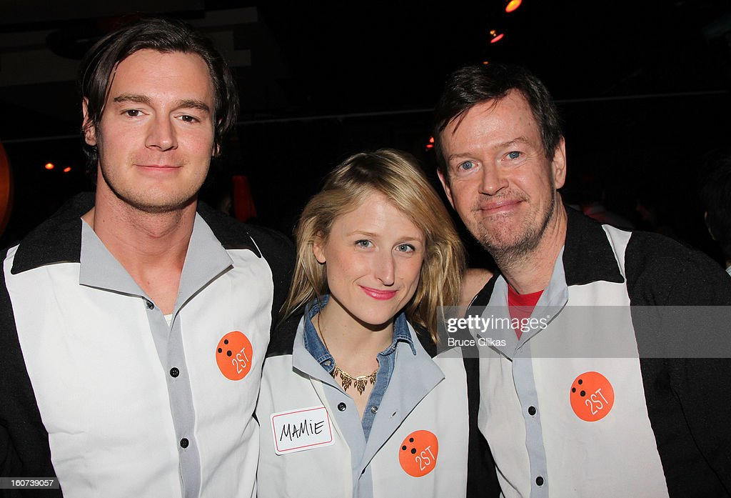 Benjamin Walker, wife Mamie Gummer and Dylan Baker pose at Second Stage Theatre's 26th Annual All-Star Bowling Classic at Lucky Strike on February 4, 2013 in New York City.