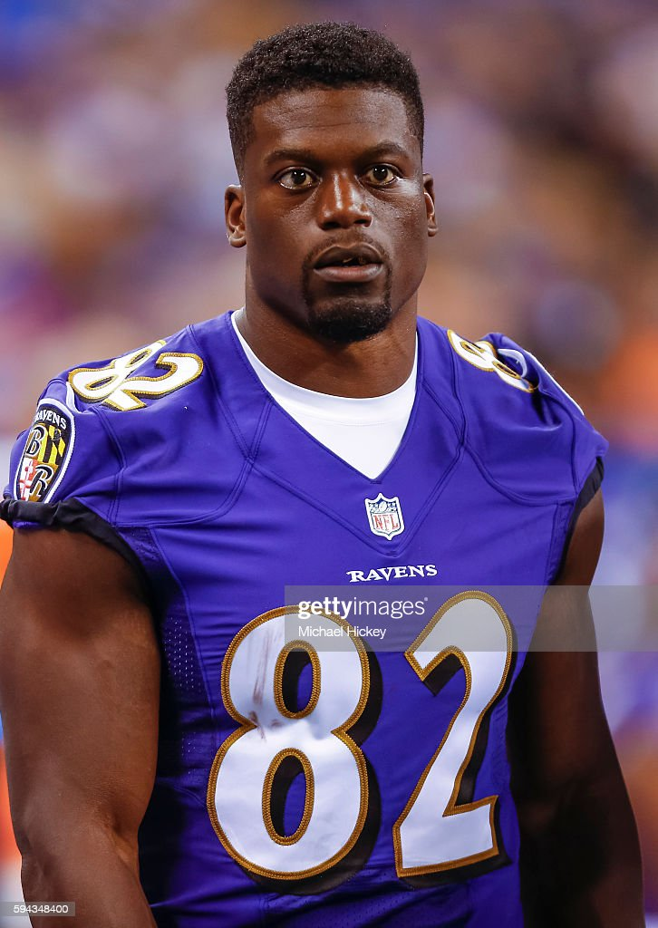Benjamin Watson of the Baltimore Ravens is seen during the game against the Indianapolis Colts at Lucas Oil Stadium on August 20 2016 in Indianapolis...