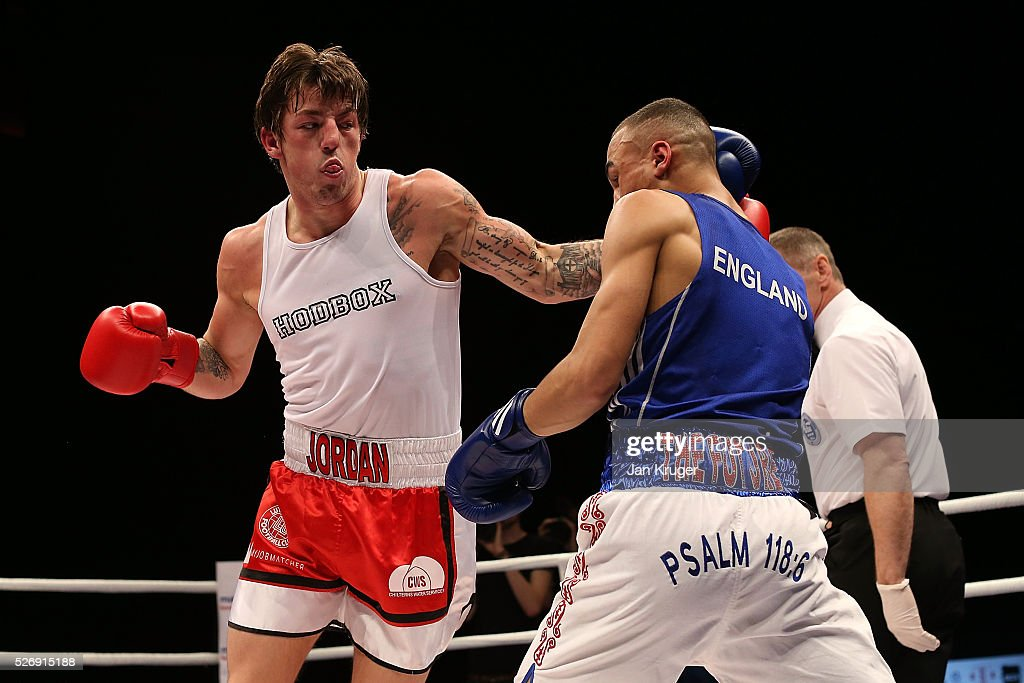Benjamin Whittaker(blue gloves) in action against Jordan Reynolds in their over 75kg final bout during day three of the Boxing Elite National Championships at Echo Arena on May 01, 2016 in Liverpool, England.