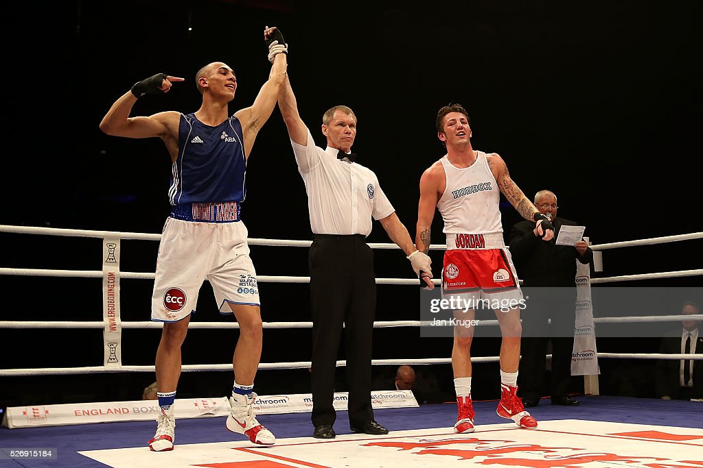 Benjamin Whittaker(L) the win over Jordan Reynolds in their over 75kg final bout during day three of the Boxing Elite National Championships at Echo Arena on May 01, 2016 in Liverpool, England.