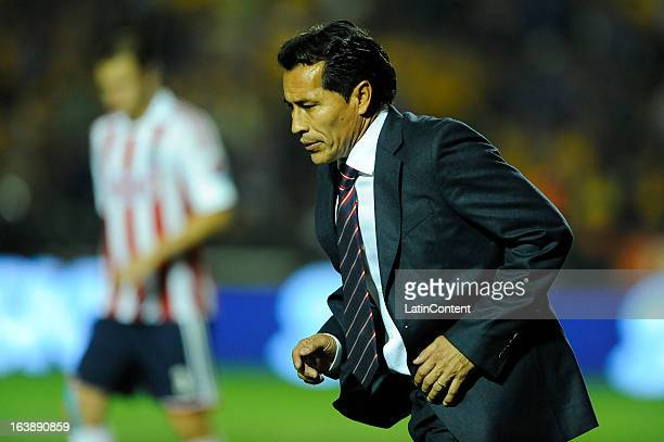Benjamín Galindo coach of Chivas walks during the match between Tigres and Chivas as part of the Clausura 2013 Liga MX on March 16 2013 in Monterrey...