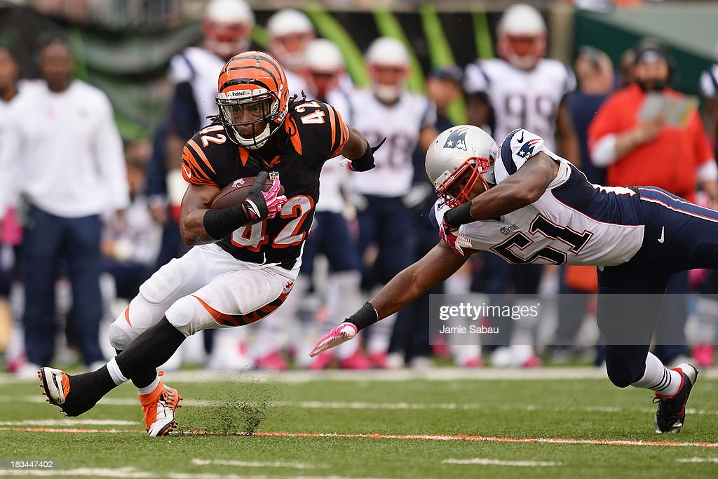 BenJarvus Green-Ellis #42 of the Cincinnati Bengals breaks a tackle attempt from Jerod Mayo #51 of the New England Patriots in the first quarter while gaining yardage at Paul Brown Stadium on October 6, 2013 in Cincinnati, Ohio.