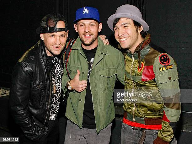 Benji and Joel Madden of Good Charlotte and Pete Wentz of Fall Out Boy attend the screening and release party for All Time Low's 'Straight To DVD' at...