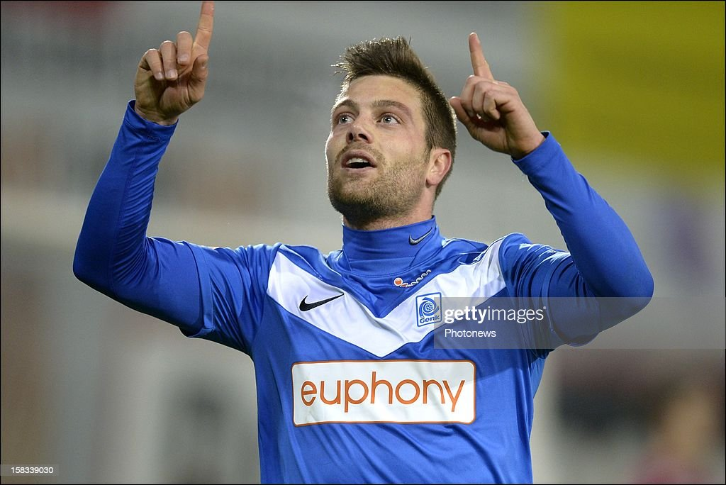 Benji De Ceulaer of KRC Genk celebrates scoring 0 -3 during the Cofidis Cup 1/4 final away match between SV Zulte Waregem and KRC Genk in the Regenboog stadium on December 13, 2012 in Waregem, Belgium.