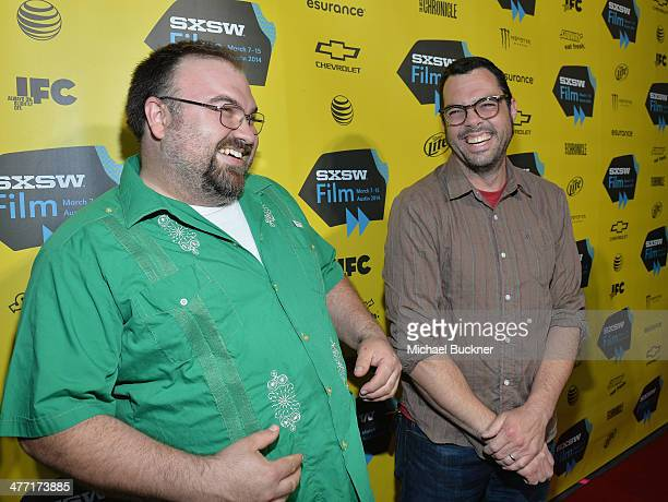 Benji Jacob and Aaron Franklin of Franklin BBQ arrive at the premiere of 'Chef' during the 2014 SXSW Music Film Interactive Festival at the Paramount...