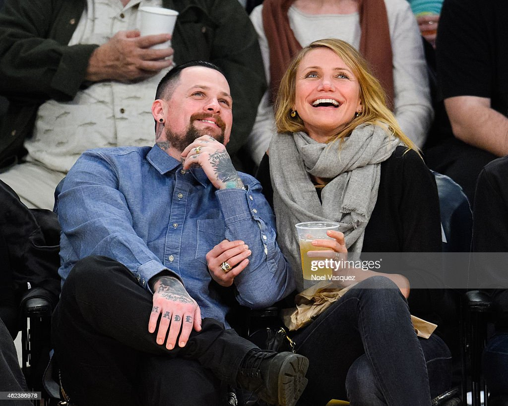 <a gi-track='captionPersonalityLinkClicked' href=/galleries/search?phrase=Benji+Madden&family=editorial&specificpeople=210590 ng-click='$event.stopPropagation()'>Benji Madden</a> (L) and <a gi-track='captionPersonalityLinkClicked' href=/galleries/search?phrase=Cameron+Diaz&family=editorial&specificpeople=201892 ng-click='$event.stopPropagation()'>Cameron Diaz</a> attend a basketball game between the Washington Wizards and the Los Angeles Lakers at Staples Center on January 27, 2015 in Los Angeles, California.