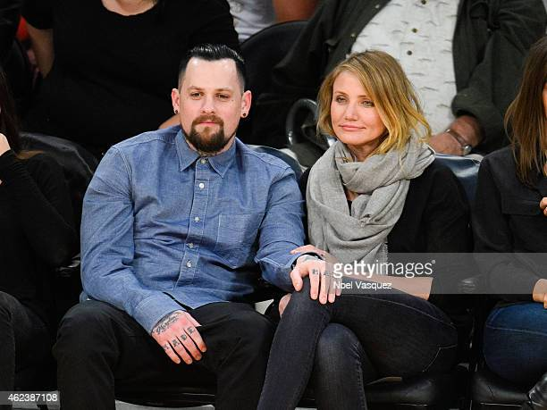 Benji Madden and Cameron Diaz attend a basketball game between the Washington Wizards and the Los Angeles Lakers at Staples Center on January 27 2015...
