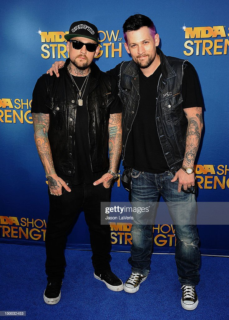 <a gi-track='captionPersonalityLinkClicked' href=/galleries/search?phrase=Benji+Madden&family=editorial&specificpeople=210590 ng-click='$event.stopPropagation()'>Benji Madden</a> and <a gi-track='captionPersonalityLinkClicked' href=/galleries/search?phrase=Joel+Madden&family=editorial&specificpeople=202933 ng-click='$event.stopPropagation()'>Joel Madden</a> attend the MDA Labor Day Telethon at CBS Studios on August 8, 2012 in Los Angeles, California.