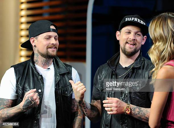 Benji Madden and Joel Madden visits 'Extra' at Universal Studios Hollywood on July 31 2014 in Universal City California