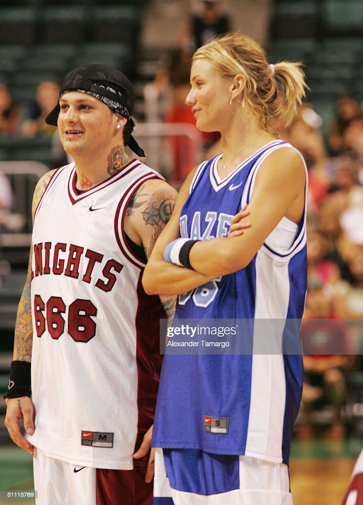 Benji Madden of Good Charlotte and actress Cameron Diaz during the NSYNC Challenge For The Children Celebrity Basketball Game at Office Depot Center in Sunrise, Florida on July 25, 2004.