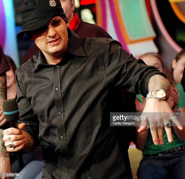Benji Madden of Good Charlotte during Good Charlotte Visits MTV's 'TRL' November 17 2004 at MTV Studios in New York City New York United States