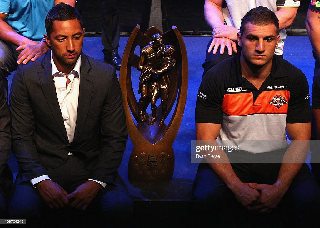 Benji Marshall (L) and Robbie Farrah of the Wests Tigers wait for a group photo to be taken during the 2011 NRL Season Launch at Casula Powerhouse Arts Centre on March 2, 2011 in Sydney, Australia.
