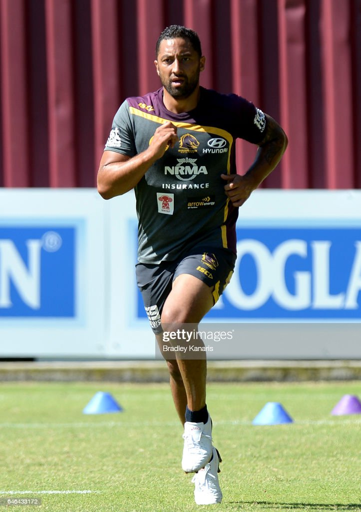 Benji Marshall is put through a physical conditioning drill during a Brisbane Broncos NRL training session on March 1, 2017 in Brisbane, Australia.