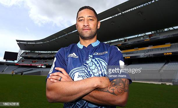 Benji Marshall of the Auckland Blues poses for a portrait during the 2014 New Zealand Super Rugby season launch at Eden Park on October 30 2013 in...
