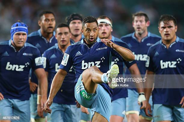 Benji Marshall of the Blues kicks for touch during the Super Rugby trial match between the Waratahs and the Blues at Allianz Stadium on February 7...