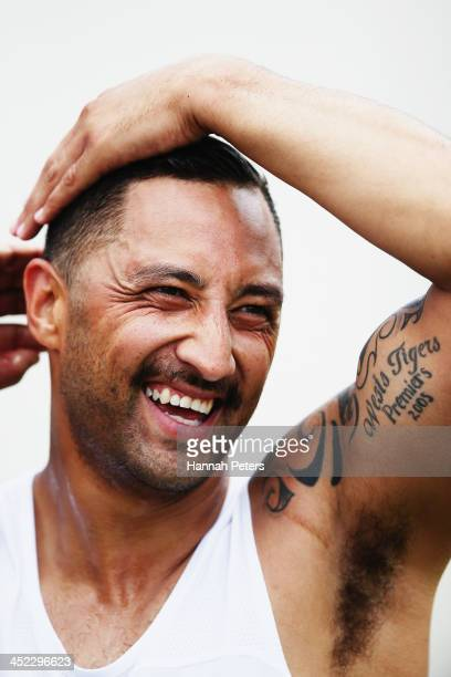 Benji Marshall of the Blues takes a break during an Auckland Blues Super Rugby preseason training session at Unitec on November 28 2013 in Auckland...