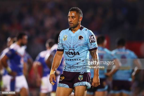 Benji Marshall of the Broncos looks on during the round 12 NRL match between the New Zealand Warriors and the Brisbane Broncos at Mt Smart Stadium on...