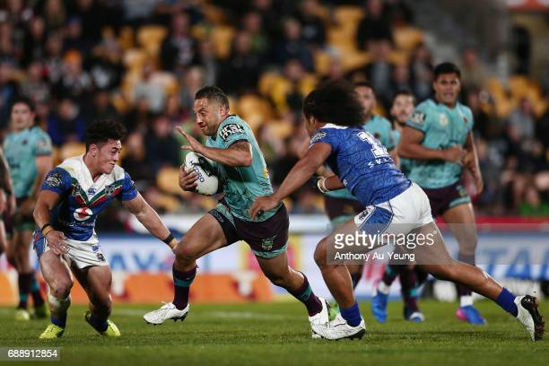 Benji Marshall of the Broncos makes a break during the round 12 NRL match between the New Zealand Warriors and the Brisbane Broncos at Mt Smart...