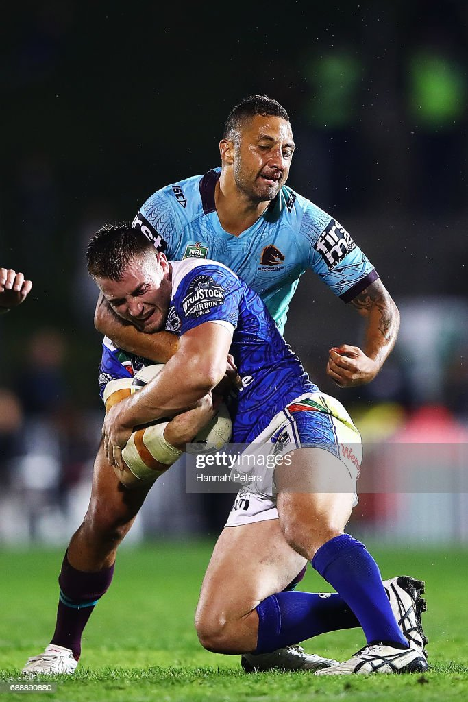 Benji Marshall of the Broncos tackles Kieran Foran of the Warriors during the round 12 NRL match between the New Zealand Warriors and the Brisbane Broncos at Mt Smart Stadium on May 27, 2017 in Auckland, New Zealand.