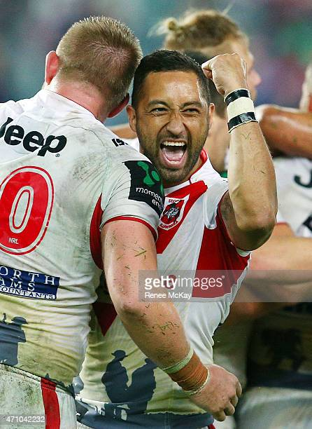 Benji Marshall of the Dragons celebrates his teams win at the round eight NRL match between the Sydney Roosters and the St George Illawarra Dragons...