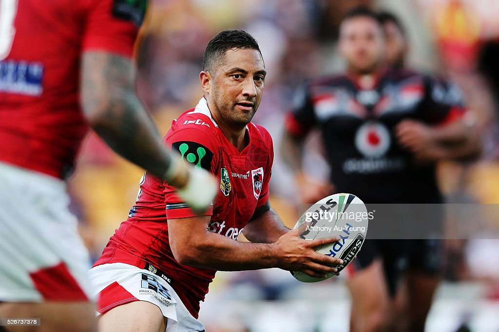 Benji Marshall of the Dragons in action during the round nine NRL match between the New Zealand Warriors and the St George Illawarra Dragons at Mt Smart Stadium on May 1, 2016 in Auckland, New Zealand.