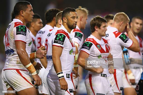Benji Marshall of the Dragons looks dejected after a Tigers try during the round two NRL match between the Wests Tigers and the St George Illawarra...