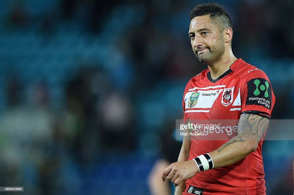 Benji Marshall of the Dragons looks dejected during the round 25 NRL match between the Gold Coast Titans and the St George Illawarra Dragons at Cbus...