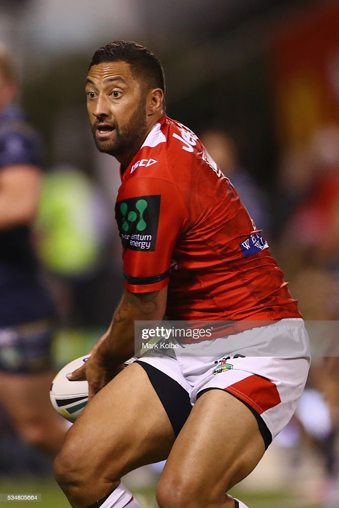 <a gi-track='captionPersonalityLinkClicked' href=/galleries/search?phrase=Benji+Marshall&family=editorial&specificpeople=215506 ng-click='$event.stopPropagation()'>Benji Marshall</a> of the Dragons passes during the round 12 NRL match between the St George Illawarra Dragons and the North Queensland Cowboys at WIN Jubilee Stadium on May 28, 2016 in Wollongong, Australia.
