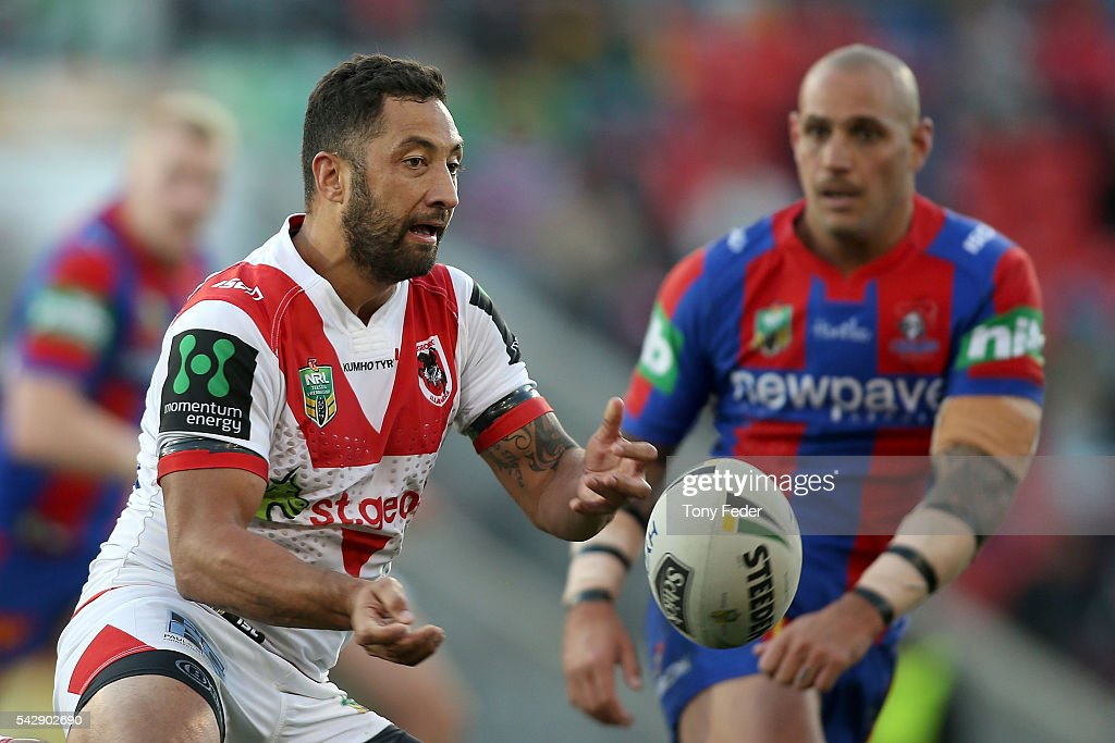 <a gi-track='captionPersonalityLinkClicked' href=/galleries/search?phrase=Benji+Marshall&family=editorial&specificpeople=215506 ng-click='$event.stopPropagation()'>Benji Marshall</a> of the Dragons passes the ball during the round 16 NRL match between the Newcastle Knights and the St George Illawarra Dragons at Hunter Stadium on June 25, 2016 in Newcastle, Australia.
