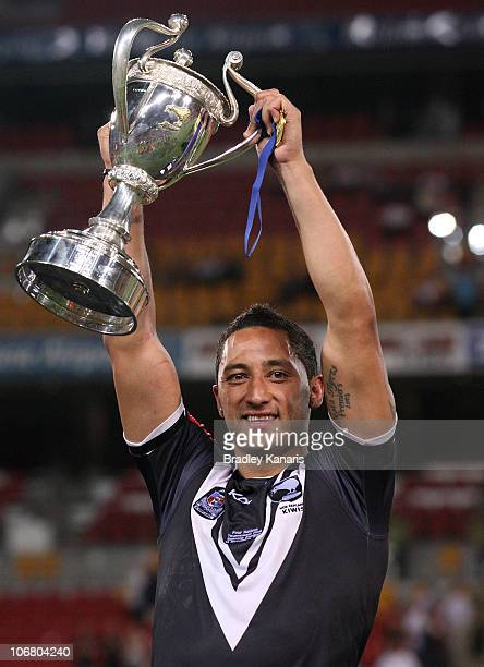 Benji Marshall of the Kiwis celebrates victory after the Four Nations Final match between the Australian Kangaroos and the New Zealand Kiwis at...