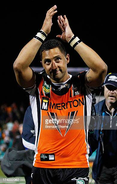 Benji Marshall of the Tigers waves to fans following the round 19 NRL match between the Wests Tigers and the New Zealand Warriors at Leichhardt Oval...