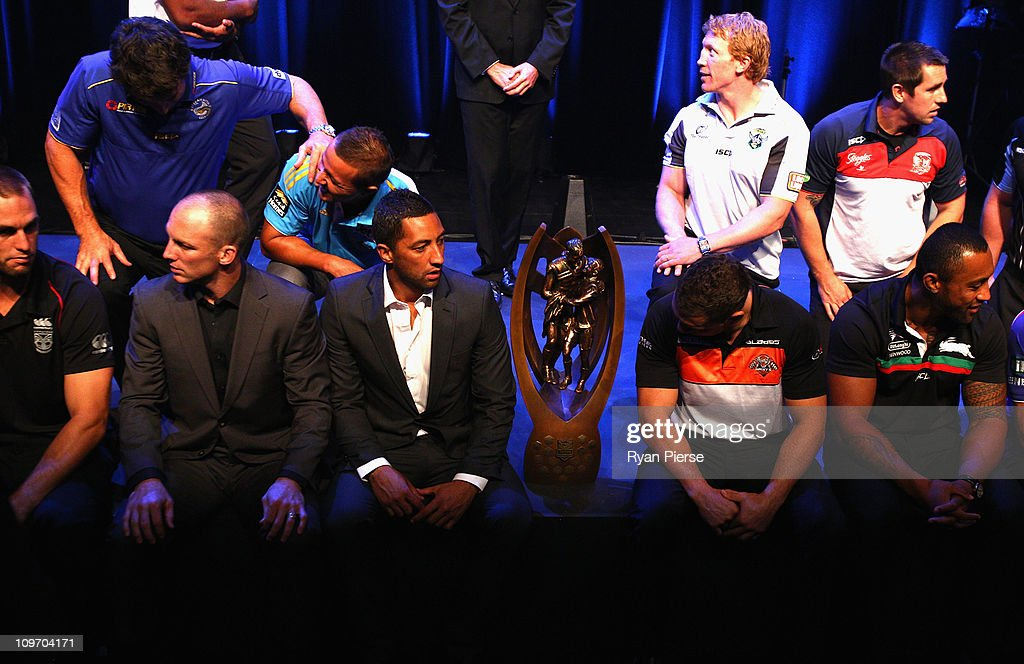 Benji Marshall (C) of the Wests Tigers waits for a group photo to be taken during the 2011 NRL Season Launch at Casula Powerhouse Arts Centre on March 2, 2011 in Sydney, Australia.