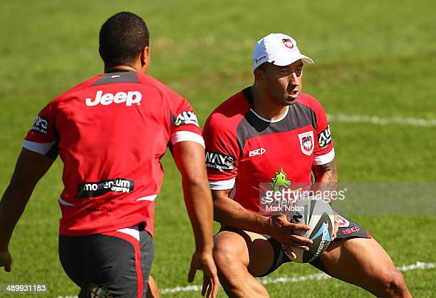 Benji Marshall runs the ball during a St George Illawarra Dragons NRL training session at WIN Stadium on May 13 2014 in Wollongong Australia