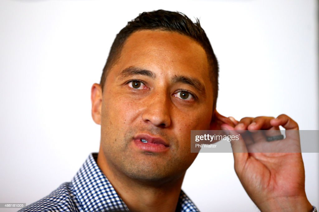 <a gi-track='captionPersonalityLinkClicked' href=/galleries/search?phrase=Benji+Marshall&family=editorial&specificpeople=215506 ng-click='$event.stopPropagation()'>Benji Marshall</a> talks to the media during an Auckland Blues press conference at Eden Park on April 23, 2014 in Auckland, New Zealand. New Zealand Rugby and the Blues announced they have agreed and confirmed the terms of <a gi-track='captionPersonalityLinkClicked' href=/galleries/search?phrase=Benji+Marshall&family=editorial&specificpeople=215506 ng-click='$event.stopPropagation()'>Benji Marshall</a>'s release from his Investec Super Rugby contract.