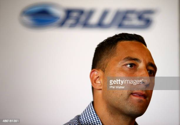 Benji Marshall talks to the media during an Auckland Blues press conference at Eden Park on April 23 2014 in Auckland New Zealand New Zealand Rugby...
