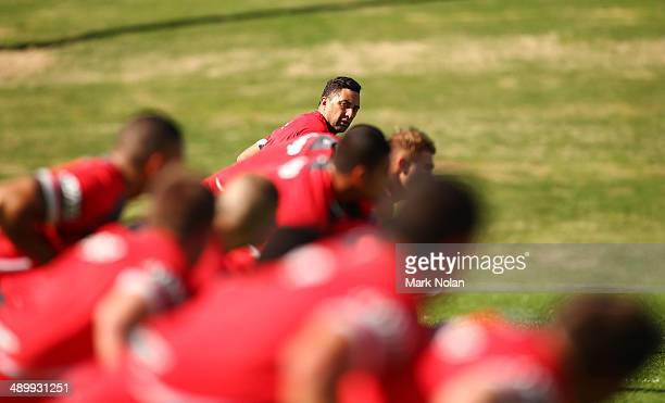 Benji Marshall watches on during a drill during a St George Illawarra Dragons NRL training session at WIN Stadium on May 13 2014 in Wollongong...