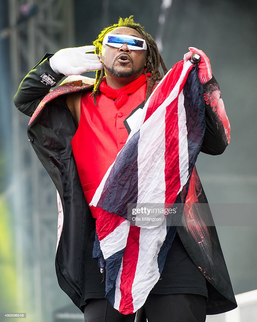 Benji Webbe of Skindred performs on stage at Download Festival at Donnington Park on June 13, 2014 in Donnington, United Kingdom.