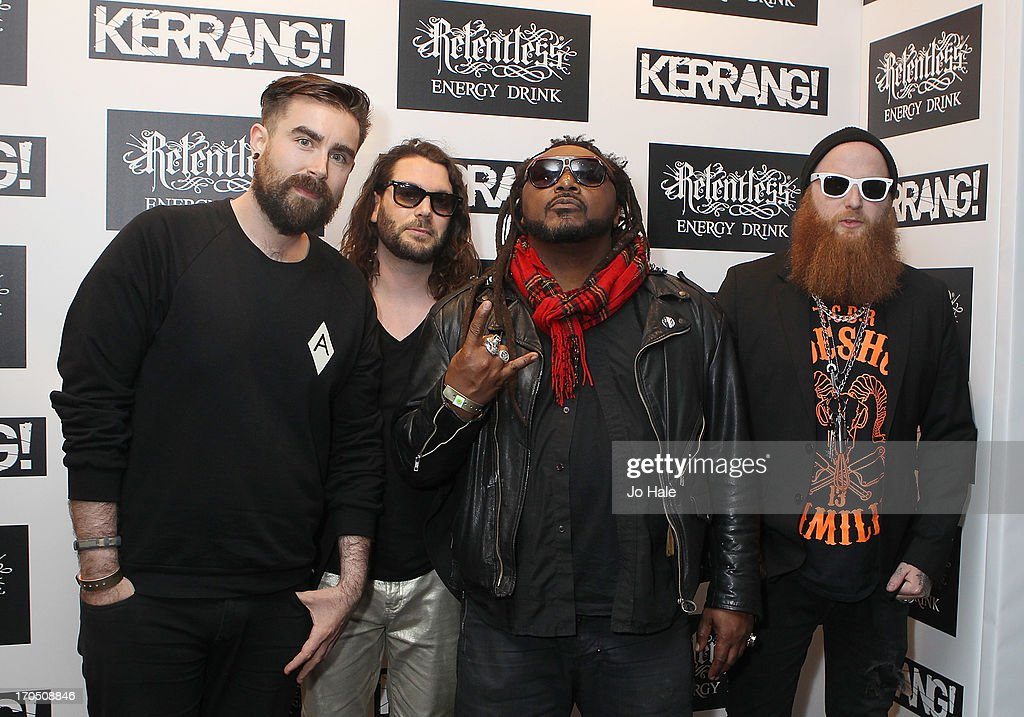 Benji Webbe (second from right) with his band Skindred attendThe Kerrang! Awards at the Troxy on June 13, 2013 in London, England.