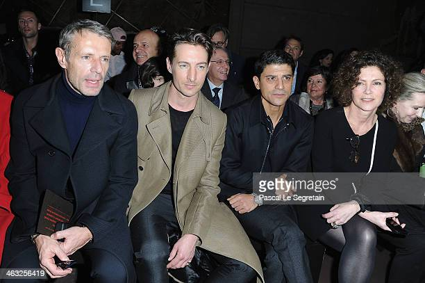 Benn Northover Lambert Wilson Said Taghmaoui and Cerruti CEO Catherine Vautrin attend the Cerruti Menswear Fall/Winter 20142015 Show as part of Paris...