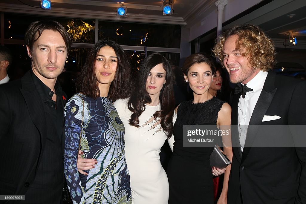Benn Northover, Olivia Magnani, Paz Vega, Clotilde Courau and Peter Dundas attend the Sidaction Gala Dinner 2013 at Pavillon d'Armenonville on January 24, 2013 in Paris, France.