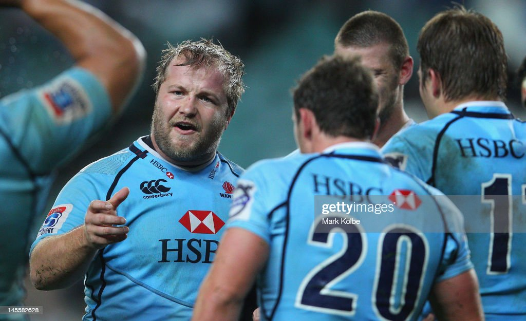 Benn Robinson of the Waratahs yells instructions to his team mates after a Hurricanes try during the round 15 Super Rugby match between the Waratahs and the Hurricanes at Allianz Stadium on June 2, 2012 in Sydney, Australia.