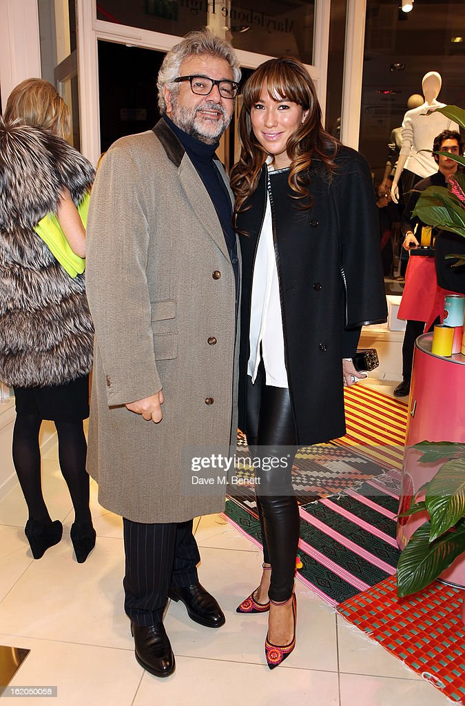 LK Bennett chairman Robert Bensoussan and partner attends as L.K. Bennett London and Caroline Issa launch their exclusive collection of shoes and handbags for Spring Summer 2013 at L.K. Bennett on February 18, 2013 in London, England.